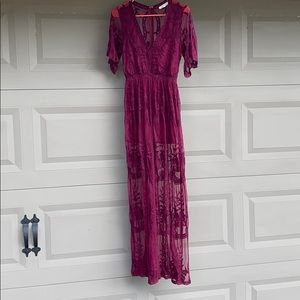 Wine colored full length sheer lace dress/romper